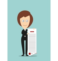 Business woman showing certificate or diploma vector