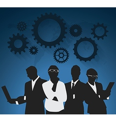 Businessman and businesswoman with gear vector image