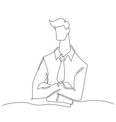 businessman - one line design style vector image