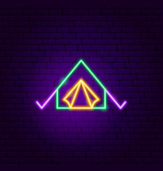 Camping tent neon sign vector