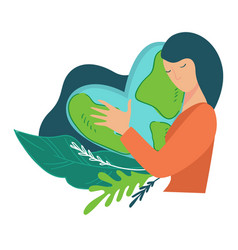 care for planet woman hugging heart shaped earth vector image