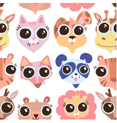 cartoon cute childish animals faces vector image