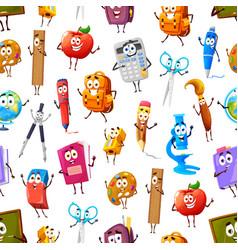 Cartoon school supply stationery seamless pattern vector