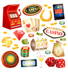 Casino decorative icons set vector