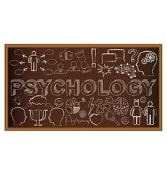 Chalk board doodle with symbols on psychology vector