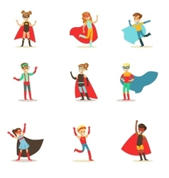 Children Pretending To Have Super Powers Dressed vector