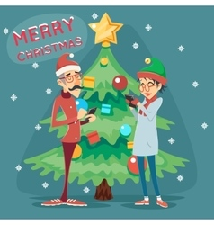 Christmas tree happy smiling male female geek vector