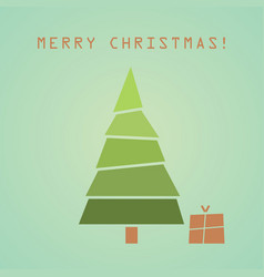 christmas tree with gift christmas card vector image
