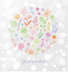 colored doodle sketch flowers on white glowing vector image