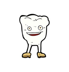 Comic cartoon happy tooth character vector