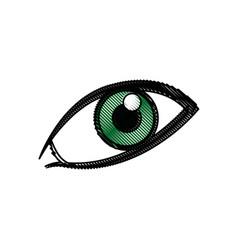 comic green eye look optical style vector image