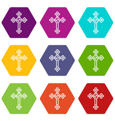 cross with diamonds icon set color hexahedron vector image