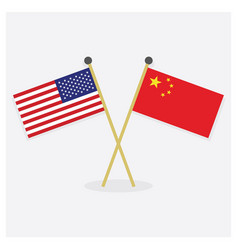 Crossed united states america and china flags vector