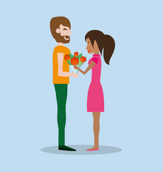 cute couple with bouquet flowers vector image