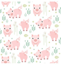 cute pig seamless pattern piggy kid fabric vector image