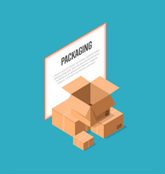 delivery packaging boxes isometric banner vector image