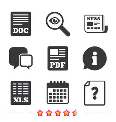 document icons xls pdf file signs vector image