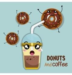 Donut and coffee kawaii cartoon vector
