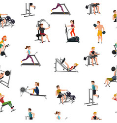 Exercise equipment seamless pattern vector
