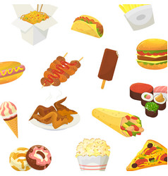 fast food pattern hamburger pitzza vector image