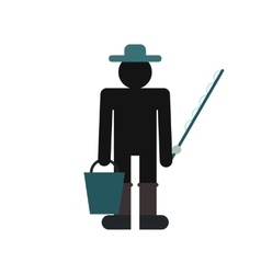 Fisherman with bucket and fishing rod icon vector image
