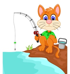 Funny cat cartoon fishing in the river vector