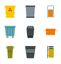 Garbage storage icon set flat style vector