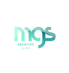 green gradient pastel modern mgs m g s alphabet vector image