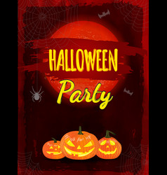 halloween night background with pumpkin and red vector image