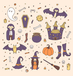 halloween set with pumpkins ghosts vampire vector image