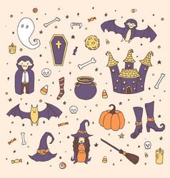 halloween with pumpkins ghosts vampire vector image
