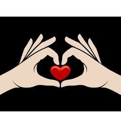 Hands heart sign vector