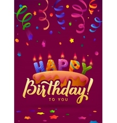 Happy Birthday Greeting Card Cake with candles vector image