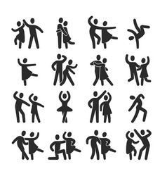 Happy dancing people icons modern dance class vector