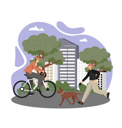 happy male characters riding bicycle and walking vector image
