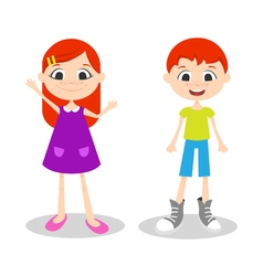 Happy young boy and girl with freckles vector