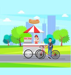 Hot dog shop carts store wheels selling sausages vector