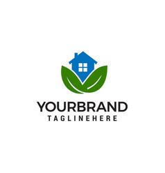 house leaf green logo design concept template vector image