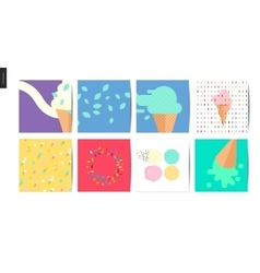 Ice cream square postcards vector