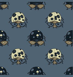 Ladybug funky seamless pattern vector