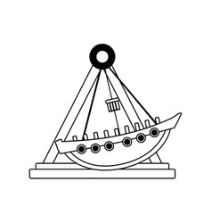 Line mechanical ship ride carnival game vector