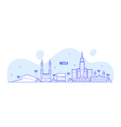 Mecca makkah skyline saudi arabia big city vector