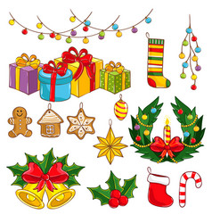 merry christmas and happy new year collection vector image