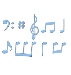 Music signs blue notes and symbols on white vector