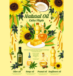 Natural oil bottles with food ingredients vector