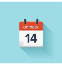 October 14 flat daily calendar icon Date vector image