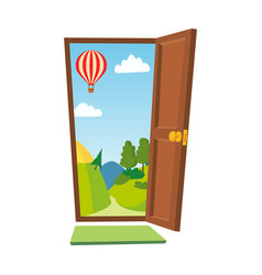 Open door cartoon landscape front view vector
