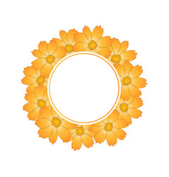 orange yellow cosmos flower banner wreath vector image