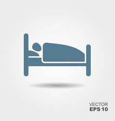 person in bed hotel flat icon vector image