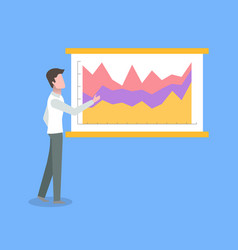 Person standing near poster with chart vector